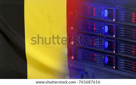 Technology concept consisting of server hardware merging with the Flag of Belgium for use as local or country internet and hardware security image idea
