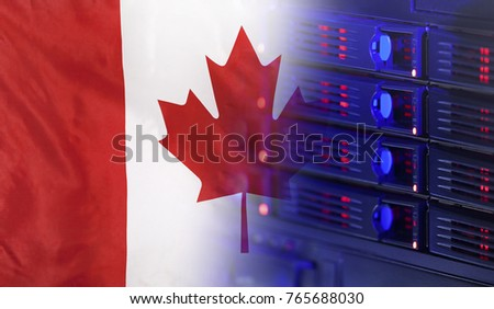 Technology concept consisting of server hardware merging with the Flag of Canada for use as local or country internet and hardware security image idea