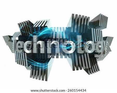 Technology concept 3d metal sign - stock photo
