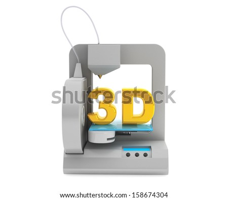 Technology concept. Modern Home 3d printer make object on a white background - stock photo