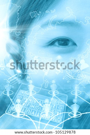 Technology concept with businesswoman - stock photo