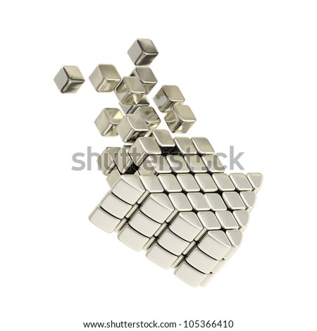 Technology cube arrow silver emblem icon isolated on white - stock photo