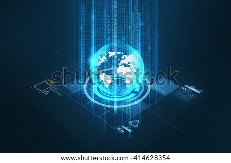 technology, cyberspace and virtual reality concept - hologram of earth globe and virtual screen projection over black background