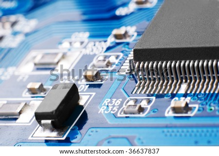 Technology details - chips on blue microcircuit board