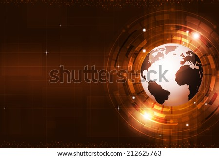 technology digital world of business information red background