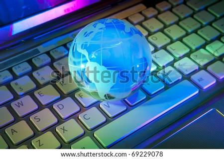 technology earth globe against fiber optic background - stock photo