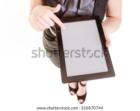Technology. Elegant businesswoman blonde girl young woman showing blank copy space on screen tablet touchpad isolated on white. - stock photo