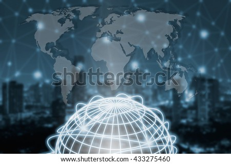 Technology.globe connection,network connection concept,wolrd map connection