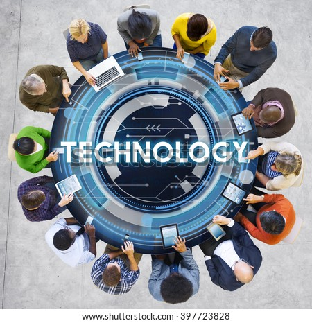 Technology Hud Future Digital Media Innovation Concept - stock photo