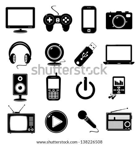 Technology icons isolated on white - stock photo