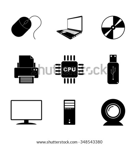 Technology Icons Set. Flat design style
