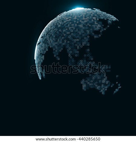 Technology image of globe. The concept illustration  - stock photo