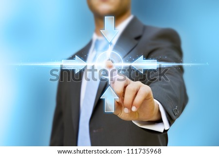 Technology in business : businessman pushing tactile button - stock photo
