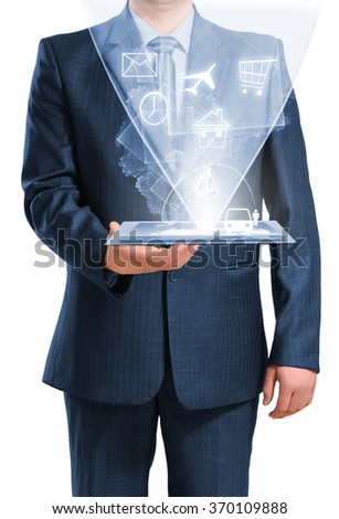 Technology in the hands - stock photo