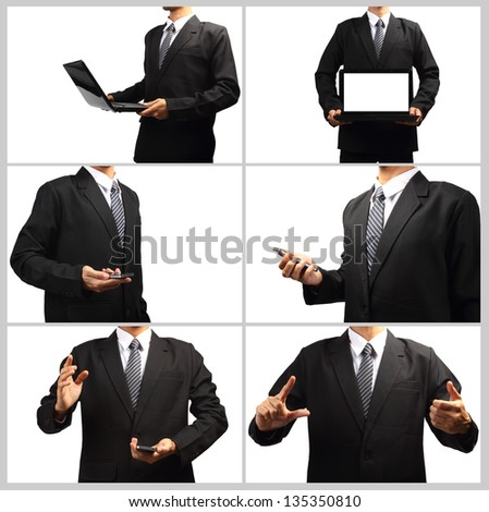Technology in the hands of businessmen, Collage template isolated on white background for design work - stock photo