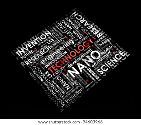 technology info-text (cloud), illustration with different scientific research terms on black background