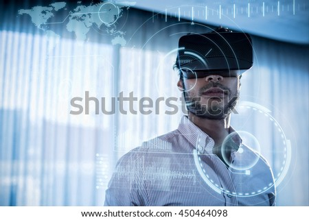 technology interface against businessman using an oculus - stock photo