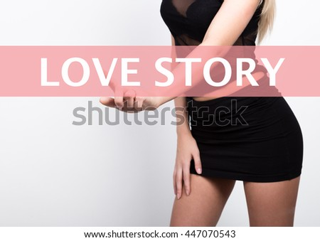 technology, internet and networking concept. Beautiful young woman in little black dress, she press button on virtual screens, with love story written