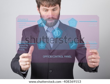 technology, internet and networking concept - businessman holding a office control panel. Internet technologies in business