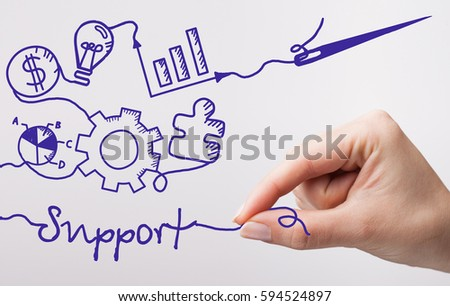 Technology, internet, business and marketing. Young business woman writing word: Support