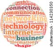 Technology internet info-text graphics and arrangement concept on white background (word cloud) - stock photo