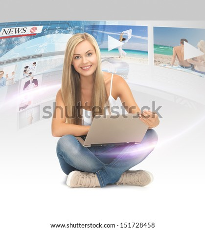 technology, internet, tv and news concept - young woman with tablet pc and virtual screens - stock photo