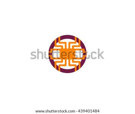 Technology logotype. Electronic logo. Chip symbol. - stock photo