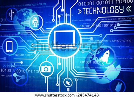 Technology Multimedia Network System Connection Concept - stock photo