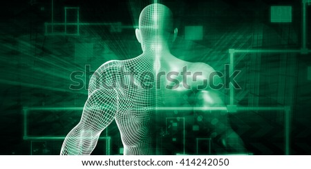 Technology Network with Futuristic Graph Chart Concept 3D Illustration Render - stock photo