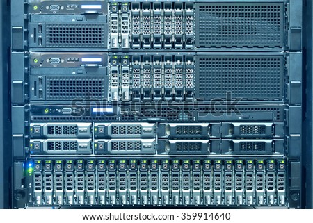 Technology of computer server in datacenter cool tone - stock photo