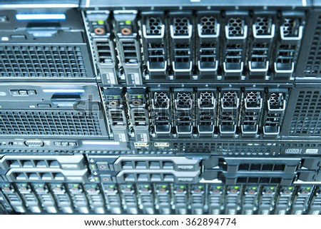 Technology of computer server in datacenter from top view