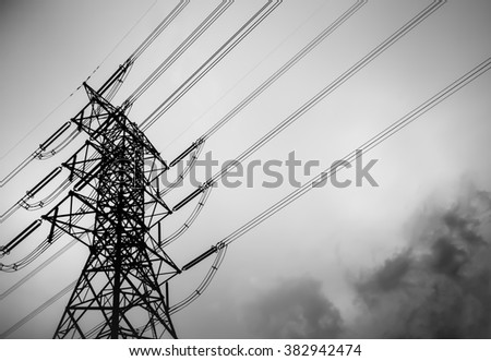 Technology of electric pole, power line and cables.
