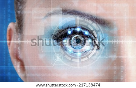 Technology scan female eye for security or identification, eye with scanner and computer interface