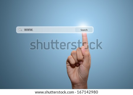 technology, searching system and internet concept - male hand pressing Search button  - stock photo