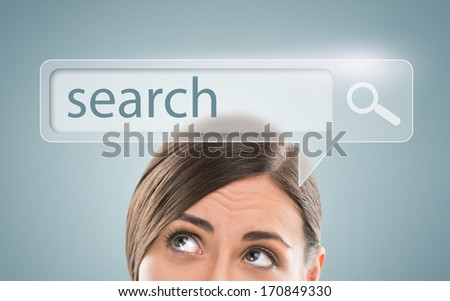 Technology, searching system and internet concept - woman looking at Search engine button overhead - stock photo
