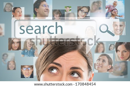 Technology, searching system and internet concept - woman looking for new friends - stock photo