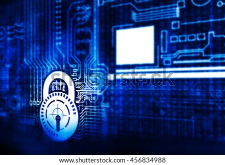 Technology security concept. Padlock and circuit  on digital background