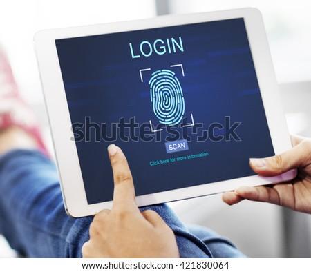 Technology Security Fingerprint Password Concept - stock photo