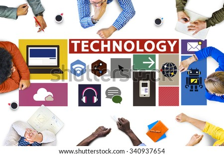 Technology Social Media Networking Online Digital Concept - stock photo