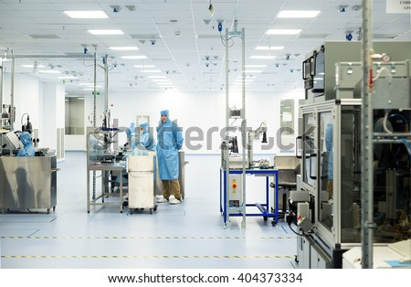 Technology specialists in sterile factory environment  during high-tech module and high-end component production, Plovdiv, SENSATA Bulgaria, April 08, 2016.