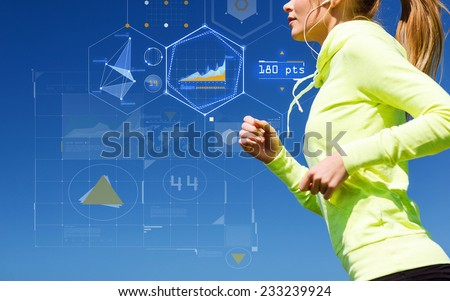 technology, sport, fitness, exercise and lifestyle concept - smiling woman doing running with earphones outdoors - stock photo