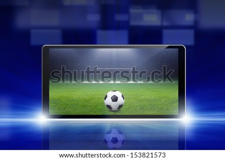 Technology, sports background - tablet pc, computer, soccer ball, sports game online, soccer online