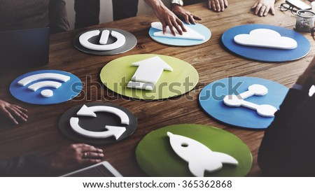 Technology Symbol Meeting Business People Concept - stock photo