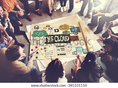 Technology The Cloud Online Storage Concept - stock photo