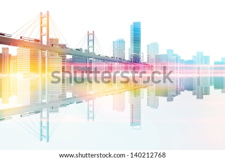 Technology transport bridge to the city skyline 3d illustration