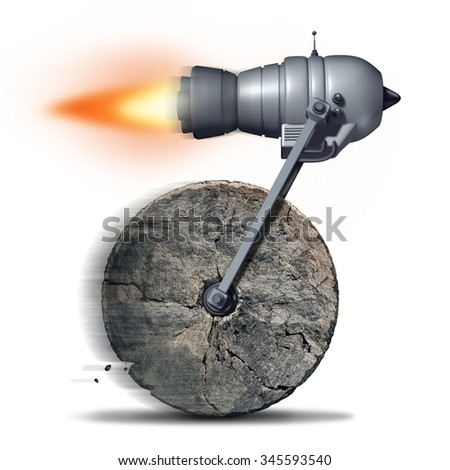 Technology upgrade business concept as an ancient stone wheel with a rocket engine or jet motor attached for increased speed and performance as a success metaphor for innovating on old ideas. - stock photo