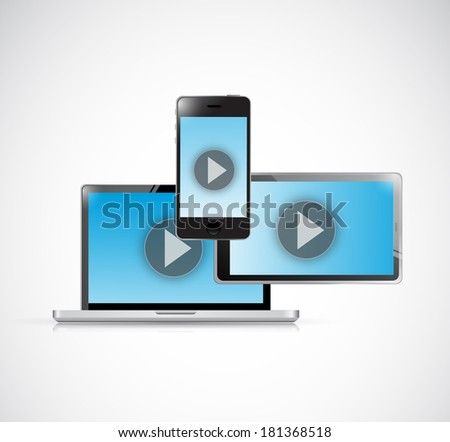 technology video electronics. illustration design over a white background - stock photo