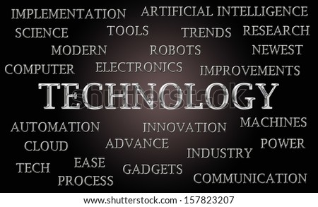 Technology word cloud written in luxurious chrome lettets