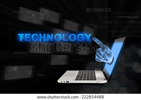 Technology word from laptop with digital background - stock photo
