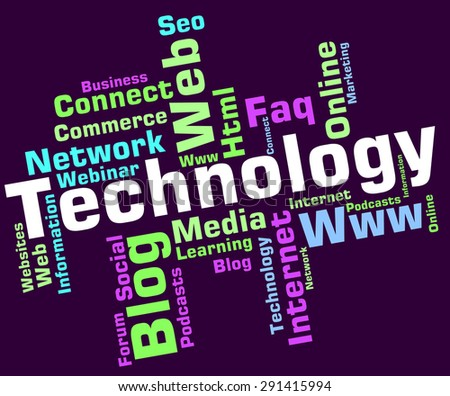 Technology Word Indicating Electronic Words And Hi-Tech  - stock photo